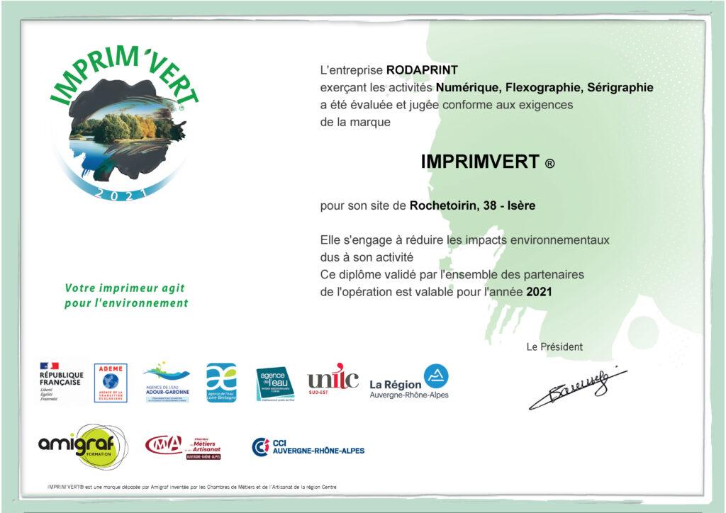 certificat imprim'vert 2021 rodaprint